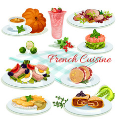 french cuisine popular dishes poster design vector image vector image