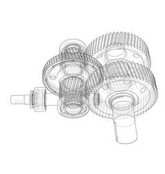 gearbox sketch vector image