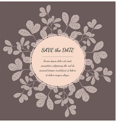 greeting card template with floral elements vector image
