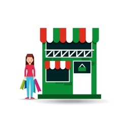 Lady shopping bags gift grocery store vector