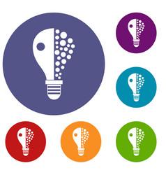 light bulb icons set vector image