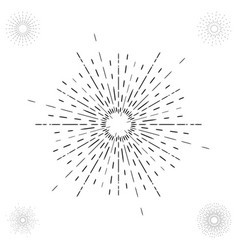 linear drawing of vintage sunbursts or light rays vector image vector image