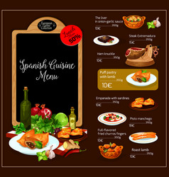 Menu of spanish cuisine restaurant vector