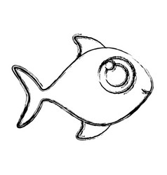 Monochrome sketch of fish without scales vector