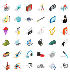 Recruiter icons set isometric style vector