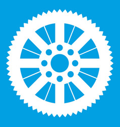 Sprocket from bike icon white vector
