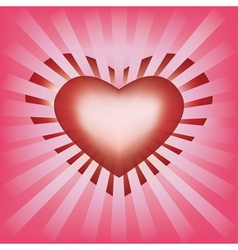 Valentines background with heart and rays vector image vector image