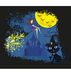witch with a broom and a cat vector image vector image