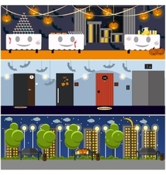 Happy halloween holiday party interior concept vector