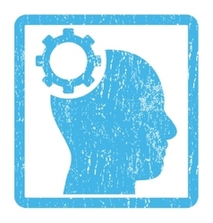 Intellect gear icon rubber stamp vector