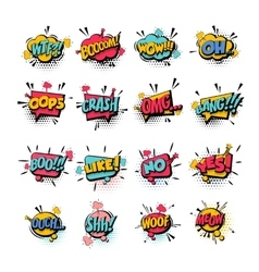 Comic set colored sound effects pop art vector