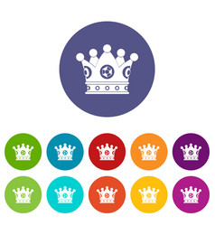 Cog crown icons set flat vector