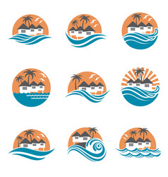 Beach house logo set vector