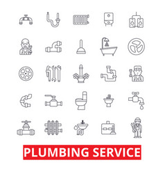 Plumbing service pipes heating tools plumber vector