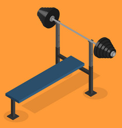 Barbell bench press in 3d vector