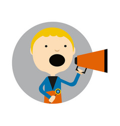 Young blond boy with megaphone round avatar icon vector