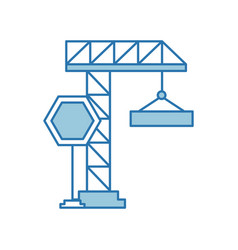 Crane construction with stop sign vector