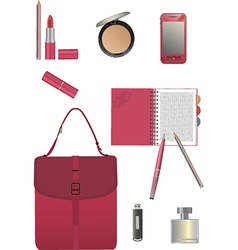 Set for business woman vector