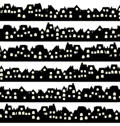 Background with black doodle houses vector