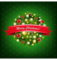 Christmas Composition With Red Ribbon vector image