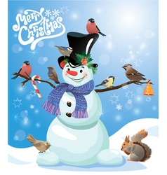 Card with funny snowman and birds on blue snow bac vector image
