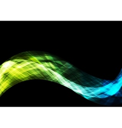Bright shiny waves on black background vector