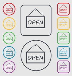 Open icon sign symbol on the round and square vector