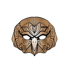 Tribal brown owl bird portrait vector