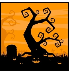 Halloween night background and evil pumpkin vector