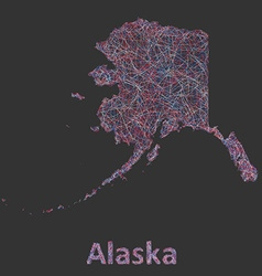 Colorful line art map of alaska state vector