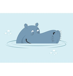 Hippo in water big fat hippopotamus in swamp cute vector