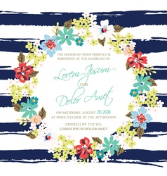 Wedding invitation with wreath vector