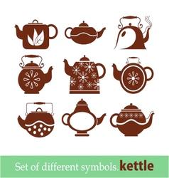set of symbols kettle teapot vector image