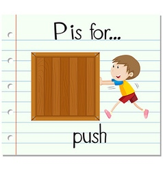 Flashcard letter p is for push vector
