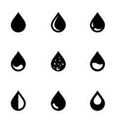 Black drop icon set vector