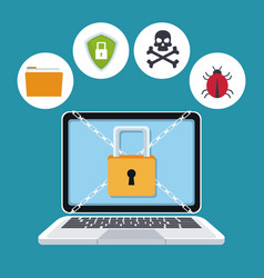 blue color background laptop with security padlock vector image
