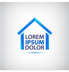 Blue house icon logo isolated vector