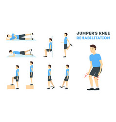 Cartoon jumper knee rehabilitation exercise card vector