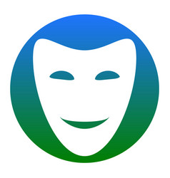 Comedy theatrical masks white icon in vector
