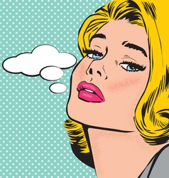 COMIC POP ART STYLE WOMAN CHARACTER vector image
