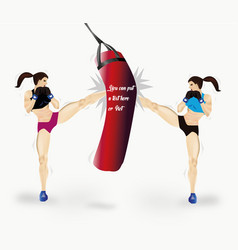couple of girls boxing vector image vector image