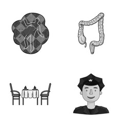 Crime restaurant and other monochrome icon in vector