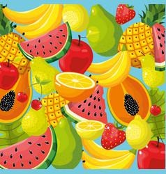 Delicious tropical fruit background design vector