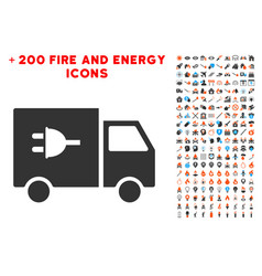 Electric car icon with bonus flame collection vector