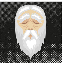 Face old man with closed eyes and white hair vector