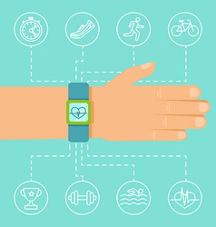 Fitness app and tracker on the wrist vector