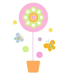 Flower and butterflyes vector
