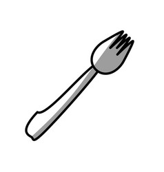 Fork eating picnic shadow vector