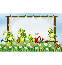 Frame design with green frogs in the garden vector