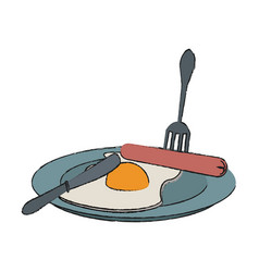 Fried egg and sausages food icon image vector